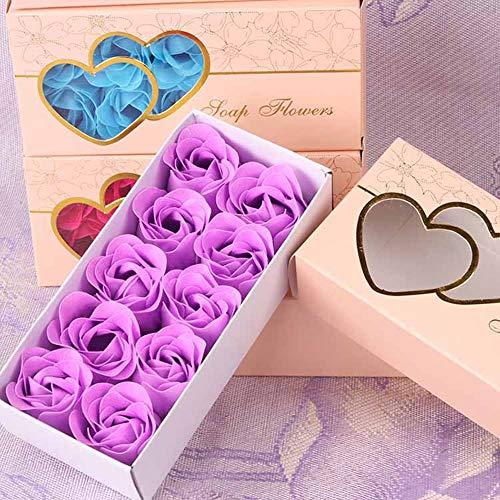 SXLWW 10 stks/set Romantische Rose Zeep Bloem Hoofden Kunstbloemen Baden Bloemblaadjes Doos Voor Valentijnsdag Bruiloft Decoratie Gift
