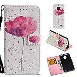 Coque Motorola Moto E4, SHUYIT Portefeuille Housse Magnétique Cover Motif de Couleur Papillon Fleur...