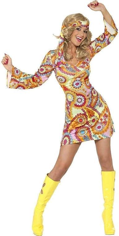 Smiffys 39441L - Disfraz de hippie años 1960 (camisa y pantalón), rosa, talla L (42-46)