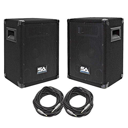 """Seismic Audio - SA-8-PKG33 - Pair of 8"""" DJ Speakers with two 50' Speaker Cables - 8 Inch DJ Loudspeakers Club Speakers"""