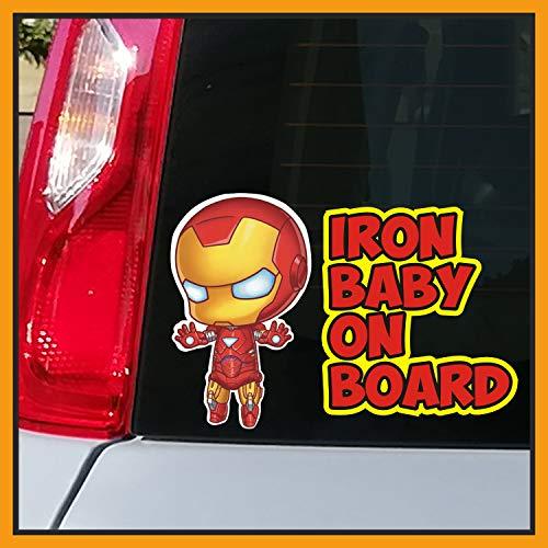 Adesivo BABY ON BOARD per auto - Bebè a bordo/Bebè In Car Decalcomanie Etichetta Sticker adesivo divertente supereroi - Bimbo Safety Sign Car Sicurezza (Iron-Baby)