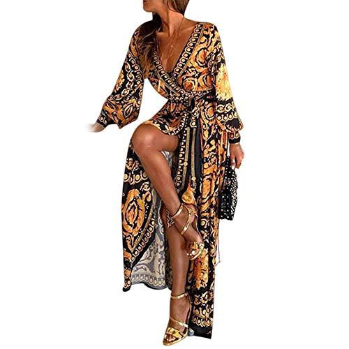 RoSoy Dames Boho V-hals bedrukte Sundress lange maxi-jurk voor de zomer