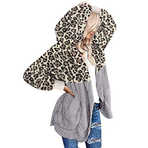 Dames Fluff Warm Vest Jas Dames Lange Mouw Borduurwerk Kleur Luipaard afdrukken Open Voorkant Hooded Bovenwerk met Gedrapeerde Zakken