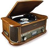 Soundmaster NR546BR Radio Digital estéreo Dab+/FM Vintage con Tocadiscos, Incl. Sistema de cápsula de imán de Audio-Technica, CD/MP3, USB, Casete, Bluetooth y función de codificación