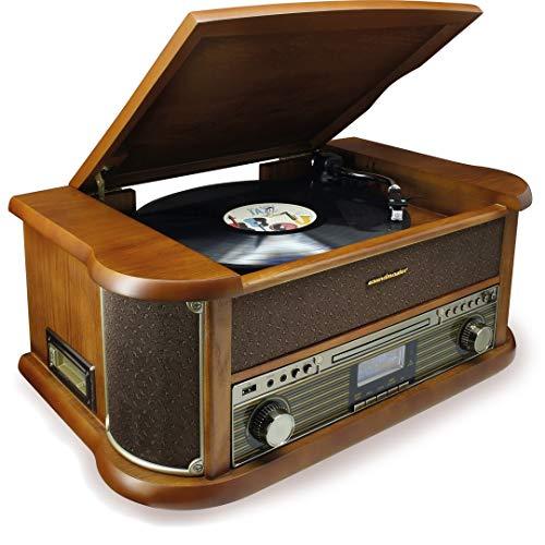 Soundmaster NR546BR Nostalgie Stereo DAB+/UKW Digitalradio mit Plattenspieler inkl Audio Technica Magnettonabnehmersystem, CD/MP3, USB, Kassette, Bluetooth und Encoding Retro