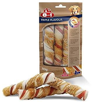 8in1 Triple Flavour Rolls – Rouleaux à Mâcher pour Chien adulte – Plus de viande, plus de durée de mâche - Limite le Tartre - Sans OGM, Conservateur Artificiel