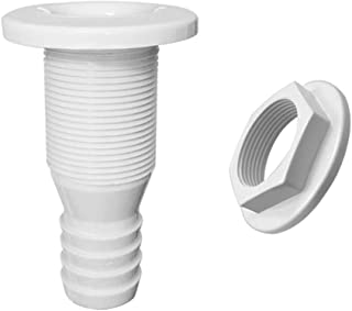 2Pcs For Marine White Straight Thru-Hull Connection For 3/4 & 5/8 Inch Hose Barb