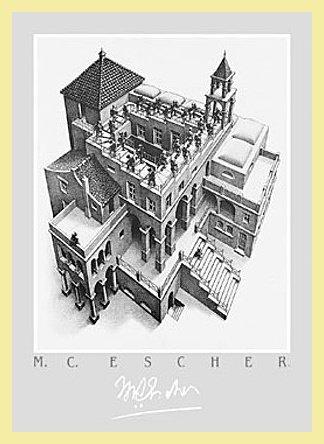 Germanposters M.C. Escher - Póster de escalera con marco de aluminio, color dorado claro