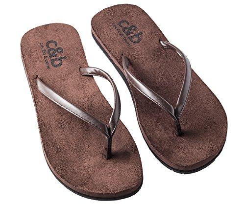 Zehentrenner aus Wildleder - Flip Flops aus Leder für Damen & Herren mit hohem Tragekomfort, Farbe:braun, Schuhgröße:43