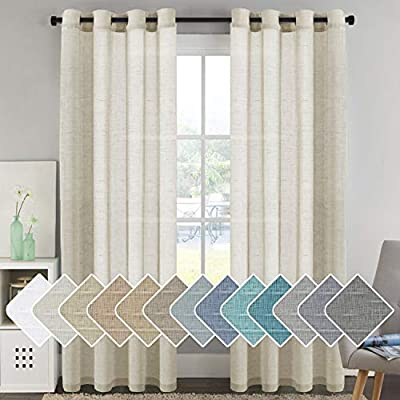 H.VERSAILTEX Home Decorative Privacy Window Treatment Linen Curtains/Natural Linen Blended Sheer Curtains/Panels/Drapes, Nickel Grommets, Natural Color, 96 Inches Long Living Room Curtains