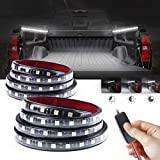MICTUNING Upgrade 2Pcs 60 Inch White LED Cargo Truck Bed Light Strip Waterproof, On-Off Dimming Switch with 3 Brightness Levels for Pickup RV SUV Boat