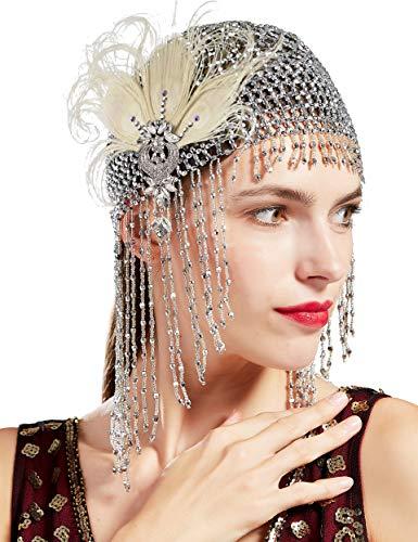 Coucoland Gatsby - Cadena para el pelo de los años 20 con pluma de pavo real y pinza para el pelo, exótica, para disfraz, accesorio para mujer Estilo 1 – Plata y pavo real beige. Talla única