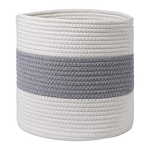 Dasing - Cesto per piante in corda di cotone, per piante in vaso, cestino in tessuto, vasi per interni con maniglie, decorazione per la casa, L