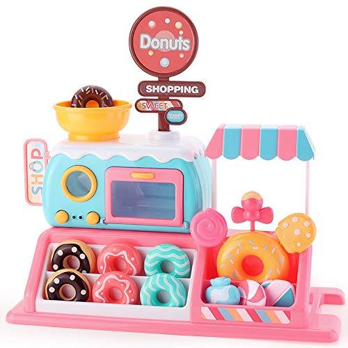 Lihgfw Simulation Donut-Shop Kinderspielhaus Lernspielzeug Mädchen Kochen Desserts Süßigkeiten Ofen Kinderspielzeug über 2 Jahre alt (Color : Rosa)