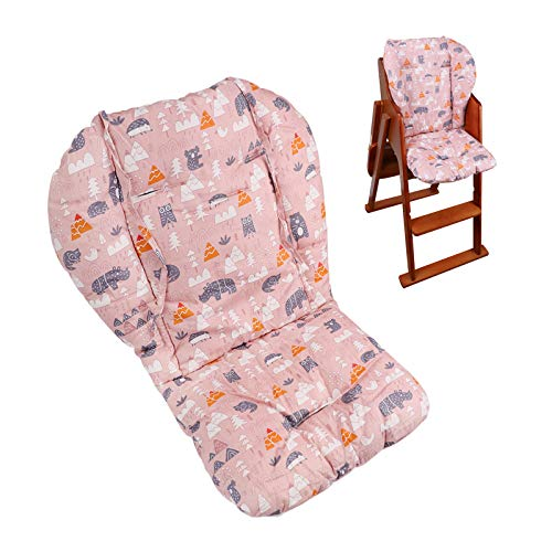 Baby High Chair Cushion, Thick Pad for Wooden High Chair, Baby Dining Chair Liner Mat(Pink Forest)