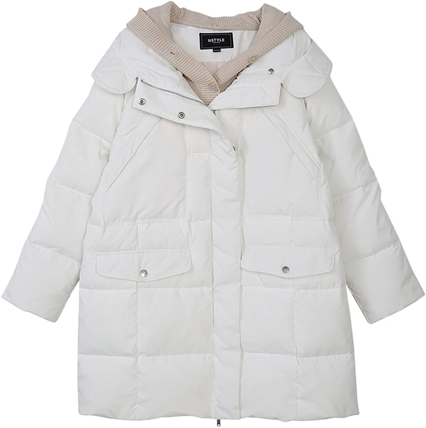 TSINYG Women's Fashion Solid color Loose Hooded Down Jacket Winter Warm Twopiece Long Coat ( color   White , Size   L )