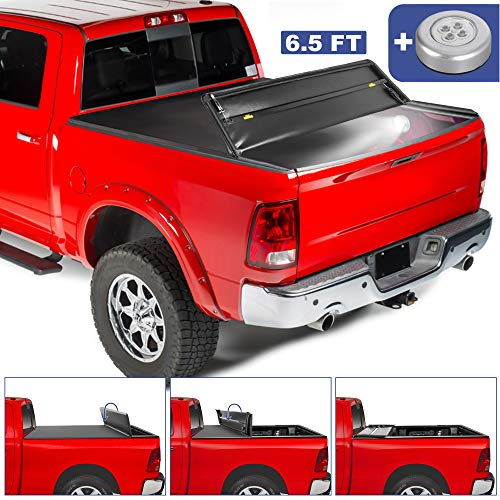 MOSTPLUS Soft Quad FOLD Truck Bed Tonneau Cover for 2002-2019 Dodge Ram 1500(2019 Classic ONLY)/ 2003-2018 Ram 2500 3500 Fleetside (for Models w/o Ram Box) (6.5 FT Bed) On Top-76.3 Inch
