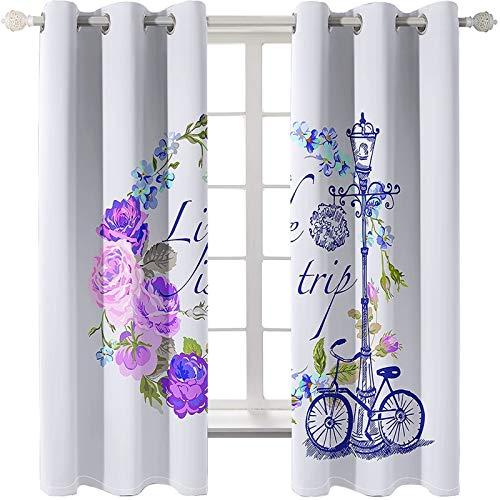 AMDXD 2 Paneles Cortina Salon Poliester, Cortinas de Ventana de Cocina Bicicleta Flores y Lámpara de Calle Comedor Decoración, Azul Púrpura, 214x214CM