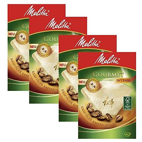 Melitta Gourmet-Kaffeefilter, Größe 1x 4, 4 Packungen, 80Stück je Packung
