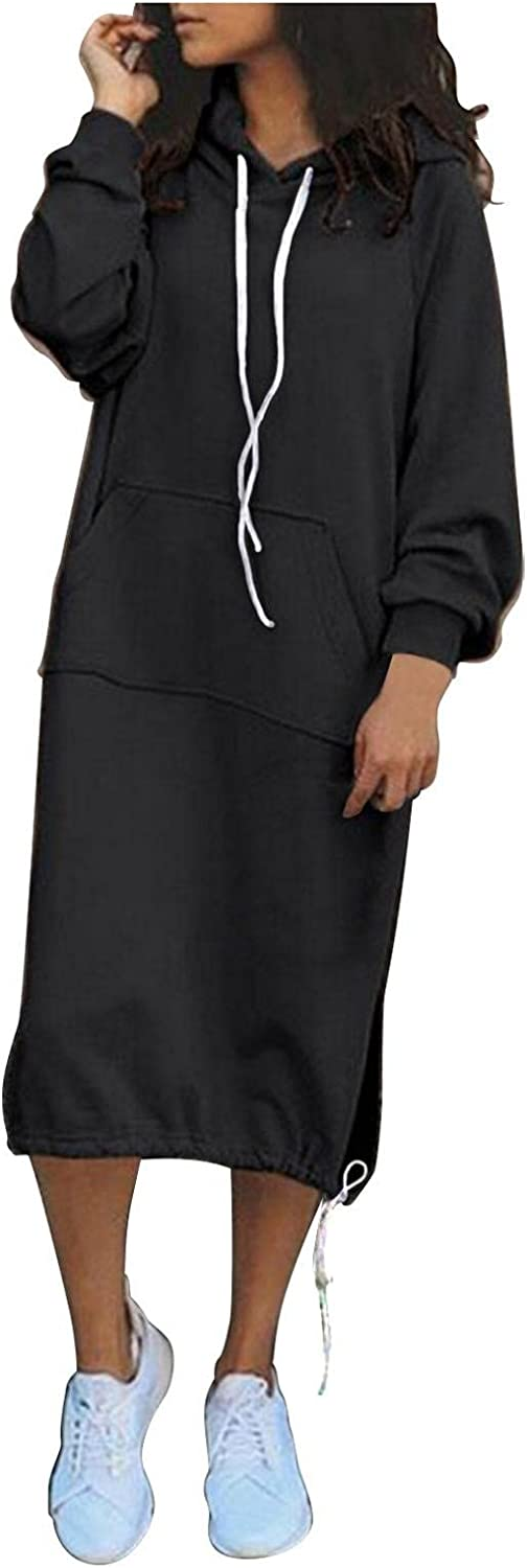 Mail order cheap Women's Brand new Winter Warm Hoodie Dress - Solid Long Sleeve Fleec Color
