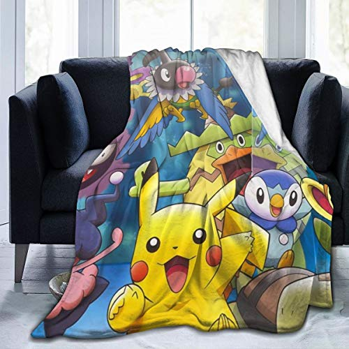 Madarstore Comfy Blankets for Decorative Living Room Bed, Japanese Anime Pikachu Wrinkle Sofa Throw, Classic Super Soft Bed Blanket 60X50 in