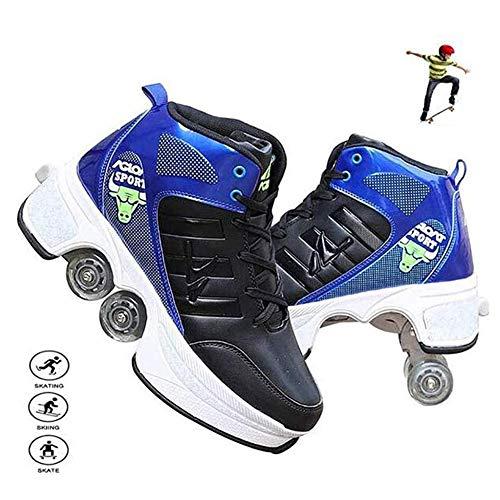 Fbestxie Mehrzweckschuhe Deformation Skateboardschuhe Quad-Rollschuh Schuhe Rollen Skates Skating Turnschuhe Für Erwachsene Kinder,C,35