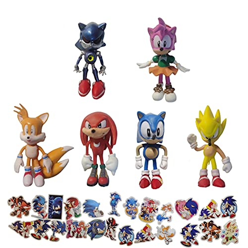 SONIC favoritos 6 unids/lote muñeca Sonic the Hedgehog, decoración de niños para suministros de fiesta de cumpleaños
