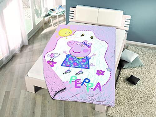 Colcha Primavera/Verano Estampada Frozen, Peppa Pig, Minnie, Spiderman para Cama de 90 (Peppa Pig)