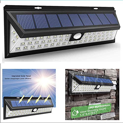 ZJING Solarleuchten im Freien, Solar-Sicherheitslampe 54 LED, Solar-Wandleuchte Flackernde Landschaftsbeleuchtungslampen, geeignet für den Innenhof im Freien