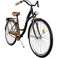 """Milord. Cómoda Bicicleta de Ciudad, Bicicleta, 1 Velocidades, Rueda de 28"""", Negro-Marrón"""