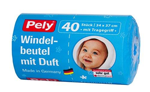 pely 5447 Windelbeutel mit Duft und Tragegriff, 40-Stück, Blau