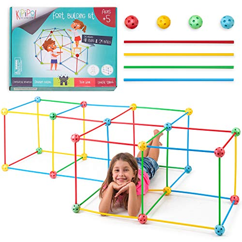 Kipipol Fort Building Kit for Kids - 77 Pcs STEM Construction Building Toys for Boys and Girls Age 5+ - Build Castles, Tunnels, Rocket, Kids Tents - Ultimate Forts Builder Gift for Indoor/Outdoor Play