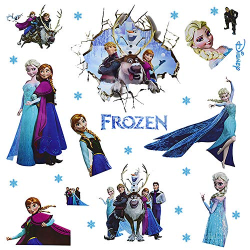 2PCS Frozen Set Wandaufkleber-JPYZ Wanddekoration Kinderzimmer Living Room Removable Prinzessin Elsa Wandtattoo Kinderzimmer