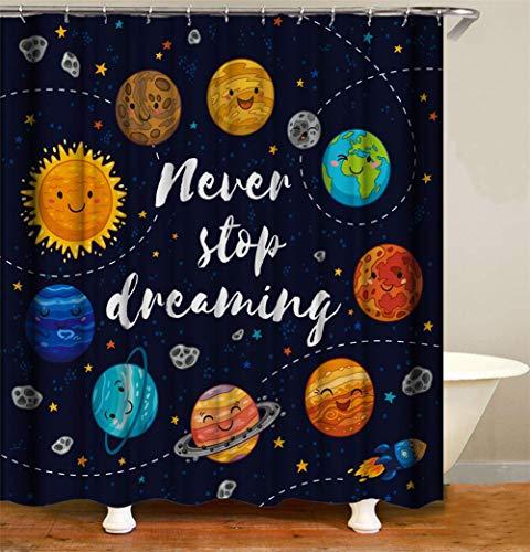 WENYAO Sterne & Raketen um die Sonne. Duschvorhang. Wasserdicht. Einfach zu säubern. 180X180Cm.