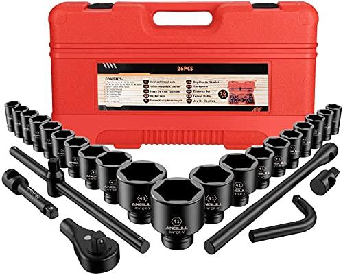 """Fuhao 3/4"""" and 1"""" Schlagschrauber Nuss Set, 26 Pcs Impact Socket Set Steckschlüsselsatz Satz, Metrische Größen (21-50 mm und 50-65 mm), CR-V-Stahl"""