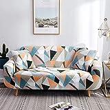Juego de Fundas geométricas para sofá, Fundas de sofá elásticas elásticas de algodón para Sala de Estar, Funda de sofá seccional de Esquina A19, 4 plazas