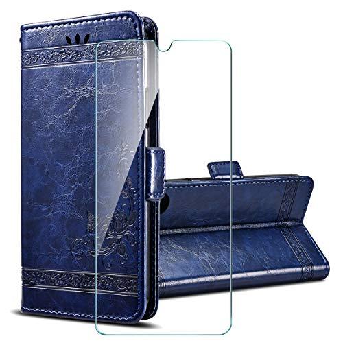 PZEMIN für Motorola Moto G9 Play Etui Hülle Flip Lederhülle Ledertasche Leder Schale TPU Schutz Hülle Cover + 1x Panzerglas Schutzfolie Bildschirmschutzfolie - Blau