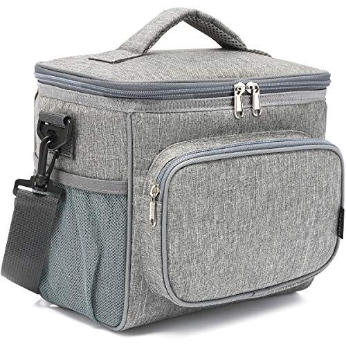 Insulated Reusable Lunch Bag Adult Large Lunch Box for Women and Men with Adjustable Shoulder Strap,Front Zipper Pocket and Dual Large Mesh Side Pockets by FlowFly,Grey