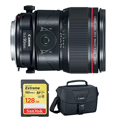 Canon TS-E 90mm f/2.8L Macro Tilt-Shift Lens with Bonus 128GB Memory Card and Canon Carrying Case Combo (Special International Model)