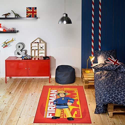 Carpet Studio Feuerwehrmann Sam Kinderteppich 95x125cm, Spielteppich für Schlafzimmer, Kinderzimmer & Spielzimmer, Waschbar, Einfach zu Säubern, rutschfest