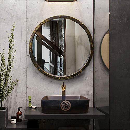 Retro redondo colgante de pared Espejo Baño Embellecimiento Inicio Remache Decoración Espejo Metal montado en la pared Vanidad Espejo de afeitar, estilo industrial de la vendimia adecuado for cafés Ba