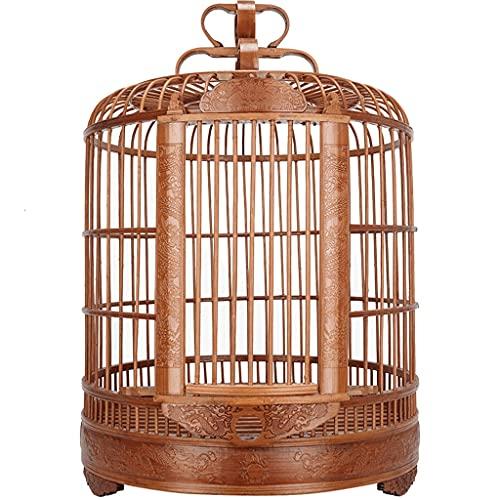ZANZAN Gabbie per Uccelli Decorative Gabbia per Uccelli intagliata Portatile con Supporto di rotolamento, Gabbia di Volo di Bamboo Bird con Gabbia, Gabbia per Uccelli per Il tordo storno, ECC.-Brown