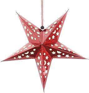 EMLIF Home Stella di Natale Appendere Decorazioni di Carta Lanterna Stella 3D Pentagramma Paralume di Natale Festa di Favore Forniture 30 cm (Rosso)