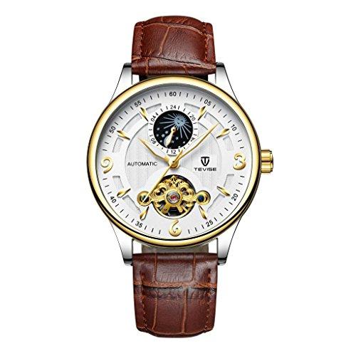 chiwanji Herren Automatik Automatik Mondphase Uhr Lederband Analoganzeige - Braun weiß