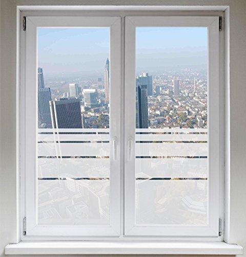 INDIGOS UG Sichtschutzfolie - Fensterfolie - Glasdekor - Sonnenschutz - Glasdekorfolie - Dynamische Streifen satiniert Blickdicht ORACAL®- 1100mm Breite x 500mm Höhe