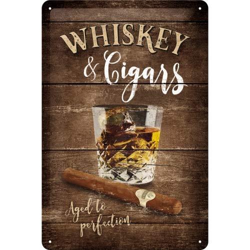 Nostalgic-Art Open Bar – Whiskey – Geschenk-Idee für Spirituosen-Fans Retro Blechschild, aus Metall, Vintage-Design zur Dekoration, 20 x 30 cm