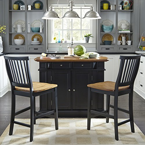 Home Styles Large Kitchen Island Set with Two Matching Stationary Slat back Stools with Antique Black finish an   d Distressed Oak Top, Extendable Breakfast Bar, Open Storage and Shelves and Drawers