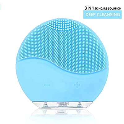 Facial Cleaning Brush?NVEDEN Waterproof & Silicon Facial Cleaner? Electric Masager Cleansing System for Deep Cleansing Skin Care? Face Massage Brush and USB Charging Cables (Aquamarine)