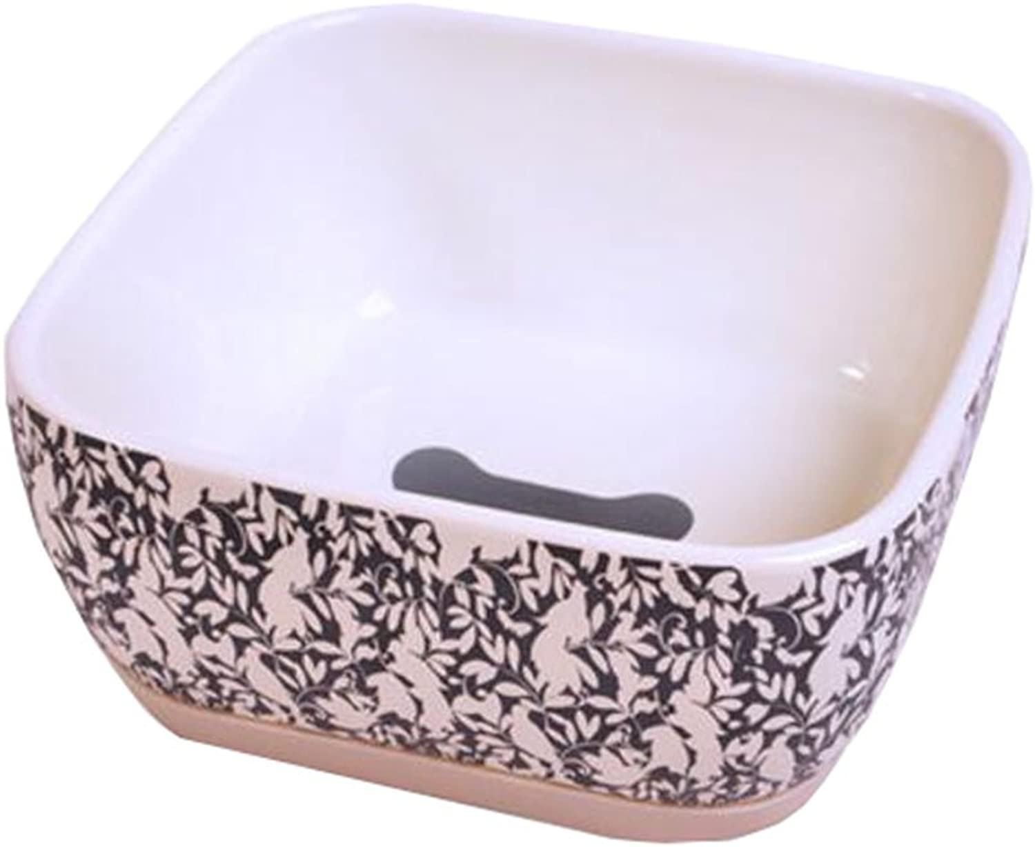 One Ceramic Feeding Pot Pet Bowl Dog Bowl Cat Bowl for Food & Water 15x15x7.5CM( 01)