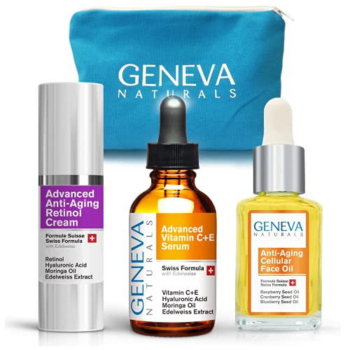 All-In-One Skin Care Kit: Natural Swiss Anti-Aging Products Vitamin C Serum (1.0 oz), Cellular Face Oil (1.0 oz) & Retinol Night Cream (1.0 oz) for Men and Women